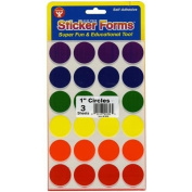 Sticker Forms Self Adhesive Stickers-Assorted Colours 2.5cm Circles 72/Pkg