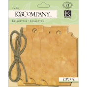K & Company Scrapbooking Embellishments, Tim Coffey Foliage Distressed Brown Tags