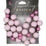 Jewellery Basics Glass/Metal Bead Mix 39cm Strand-Pink Spacers