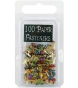 Mini Painted Metal Paper Fasteners 100/Pkg-Round/Matte Heritage
