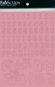 Fabscraps Self-Adhesive Laminated Chipboard Alphabet, Pink, Letters and Symbols, 164-Piece