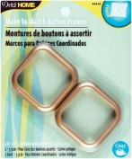 Dritz Upholstery Cover Button Frames-2.5cm - 1cm (Size 54) Square Gold 2/Pkg.