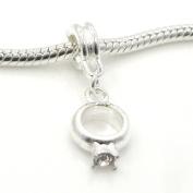 "Jewellery Monster Silver Finish ""Dangling White Crystal Rhinestone Engagement Ring"" Charm Bead for Snake Chain Charm Bracelet"