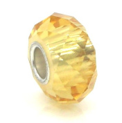 "Jewellery Monster Translucent ""Amber"" Faceted Crystal Charm Bead for Snake Chain Charm Bracelet"