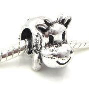 "Jewellery Monster Antique Finish ""3D Cow"" Charm Bead for Snake Chain Charm Bracelet"
