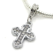 "Jewellery Monster Silver Finish ""Dangling White Crystal Rhinestone Cross"" Charm Bead for Snake Chain Charm Bracelet"