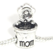 "Jewellery Monster Antique Finish ""Mom Flower Pot"" Charm Bead for Snake Chain Charm Bracelet"