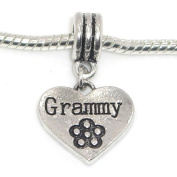 "Jewellery Monster Antique Finish ""Dangling Grammy Heart w/ Etched Flower"" Charm Bead for Snake Chain Charm Bracelet 0447"
