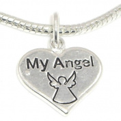 "Jewellery Monster Silver Finish ""Dangling My Angel Heart"" Charm Bead for Snake Chain Charm Bracelet"