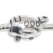 "Jewellery Monster Antique Finish ""Aeroplane"" Barrel Charm Bead for Snake Chain Charm Bracelet"