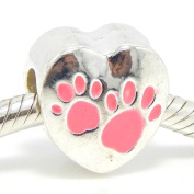 """Jewellery Monster Silver Finish Enamel Painted """"Pink Paw Prints on a Heart"""" Charm Bead for Snake Chain Charm Bracelets"""