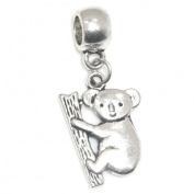 """Jewellery Monster Antique Finish """"Dangling Koala"""" Charm Bead for Snake Chain Charm Bracelet"""