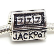 "Jewellery Monster Antique Finish ""Jackpot Slot Machine"" Charm Bead for Snake Chain Charm Bracelet"