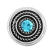 Light Blue Rhinestone Snap Button Abstract Design Chunk Charm
