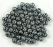 Snowflake Black and White 6mm Round Gemstone Beads - 64 beads