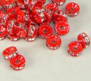 7mm Rhinestone Disc Beads Red 36pcs