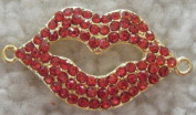 Red Rhinestone Gold Plated Lips Connector