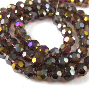 Crystal Glass Beads 4mm Round Faceted, Dark Red Violet, Crystal AB