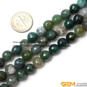 Gem-Inside 4mm 8mm 5X8mm Round Faceted Moss Agate Beads Strand 15 Inches