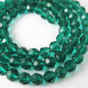 Crystal Glass Beads 4mm Round Faceted, Peacock Green Colour