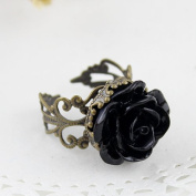 Vintage Style Fashion Gothic Black Rose Ring