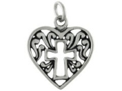 Sterling Silver Cross in Heart Charm