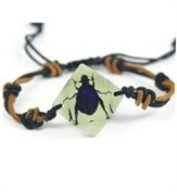 Chafer Beetle Bracelet - Black Beetle with Blue Highlights in a Faceted Jewel Shaped White Setting