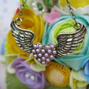 BSI - Vintage, Craved Heart Design with Pearl Decoration Angel Wing Pendant and Chain with Anitque Bronze Finished