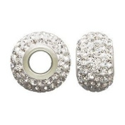 Sterling Silver Large Hole Colourless Crystal Pave Bead