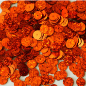 8mm Flat Round SEQUIN PAILLETTES ~ ORANGE Multi Hologram ~ Loose sequins for embroidery, bridal, applique, arts, crafts, and embellishment. Made in USA.