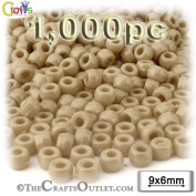 1,000pc Plastic Round Opaque Pony Beads 6x9mm Tan beads