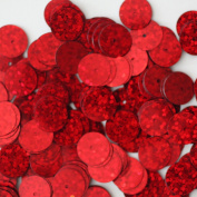 10mm ROUND FLAT SEQUINS ~ RED HOLOGRAM Metallic ~ Loose sequins paillettes for embroidery, applique, arts, crafts, bridal, and embellishment. Made in USA