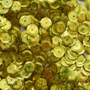 8mm Cup Facet Round SEQUIN PAILLETTES ~ YELLOW Metallic HOLOGRAM ~ Loose sequins for embroidery, bridal, applique, arts, crafts, and embellishment. Made in USA.