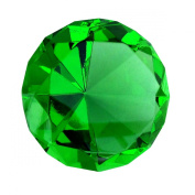 Giant Emerald Green Cut Glass Diamond Jewel