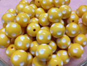 10pc 20mm White Polka Dot Yellow Chunky Beads Bubblegum Beads Necklace Beading Supplies