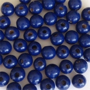 12mm Round Wood Beads (50pc) - Blue