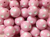 5pc 24mm Pink Polka Dot Round Chunky Bubblegum Beads Bracelet Earrings Necklace Beading Supplies