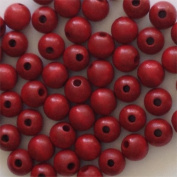 1.3cm Round Wood Beads (50pc) - Xmas Red
