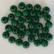 12mm Round Wood Beads (50pc) - Xmas Green