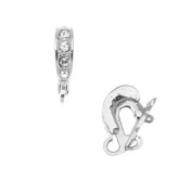 Rhodium Plated Clasp Bail With 4. ELEMENTS -For Hanging Pendants 15x3mm