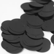 20mm Round SEQUIN PAILLETTES ~ BLACK ~ Loose sequins for embroidery, bridal, applique, arts, crafts, and embellishment. Made in USA.