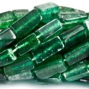 8mm Forest Green Aventurine Plain Rectangle Beads, 14 inch