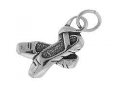 Sterling Silver Ballet Slippers Shoes Charm