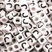 """J"" White Plastic Cube Alphabet Beads, 7mm, Letter J, 75 pcs"