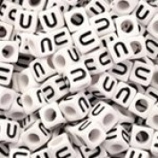 White Plastic Cube Alphabet Beads, Small, 6mm, Letter U, 100 pcs