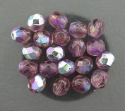 20 MED. AMETHYST AB CZECH FIRE CRYSTAL FACET BEADS 6MM