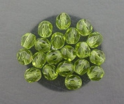 20 OLIVINE CZECH FIRE CRYSTAL FACETED BEADS 6MM