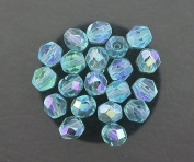 20 AQUAMARINE AB CZECH FIRE CRYSTAL FACETED BEADS 6MM
