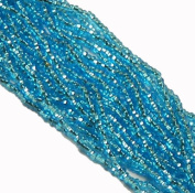 Aqua Blue Silver Lined Czech 8/0 Glass Seed Beads 1 Full 12 Strand Hank Preciosa Jablonex