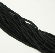 Black Matte Opaque Czech 8/0 Glass Seed Beads 1 Full 12 Strand Hank Preciosa Jablonex
